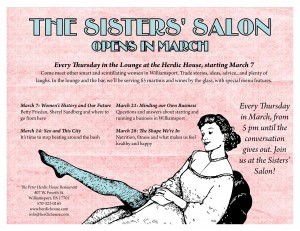 This month's Sisters' Salon schedule